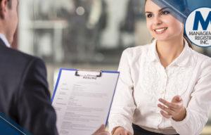 nurse explaining resume to potential employer